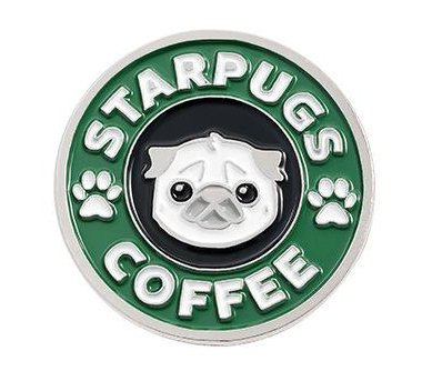 Star Pugs Coffee Enamel Pin Badge