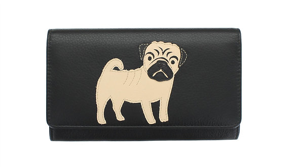 Black Real Leather Flap Over Pug Purse 'Best Friends'