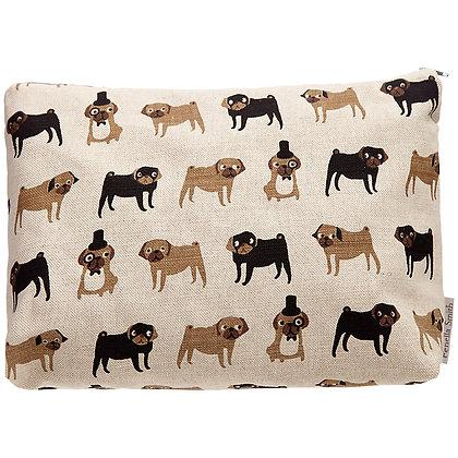 Fenella Smith Pug Linen Large Make Up / Beauty Bag