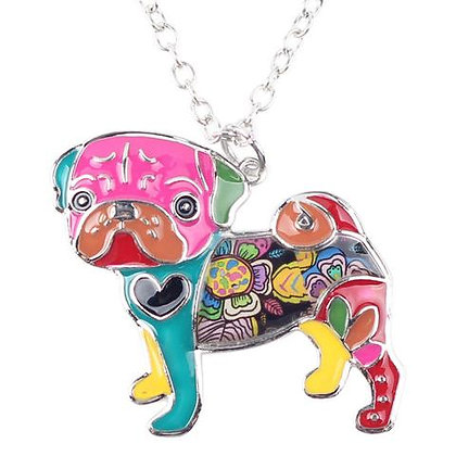 Colourful Pug Necklace