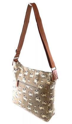 Ladies Pug Messenger Bag - Large Shoulder Satchel