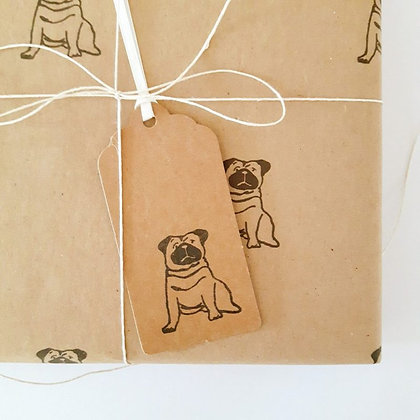 Pug Gift Tag - Hand Printed on Kraft Tag with Twine