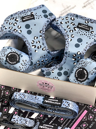 Arctic Leopard - Blue Animal Print Adjustable Harness from Pawsome Paws Boutique