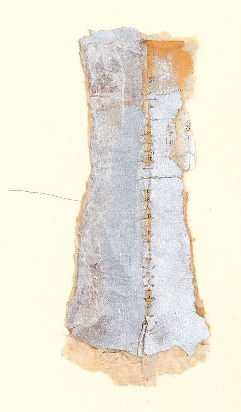 """Silver Corset Handmade paper, thread, and old book pages on paper 11"""" x 15"""" 2006"""