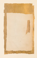 """Couldn't Be Better Old book pages, thread, pencil, and gouache on paper 11"""" x 15"""" 2002"""