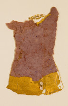 """Tunic Handmade paper, thread, and old book pages on paper 11"""" x 15"""" 2006"""