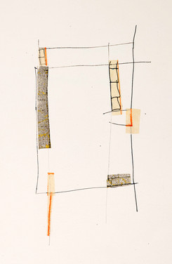 """Treehouse Japanese book pages, ink, and gouache on paper 11"""" x 15"""" 2019"""