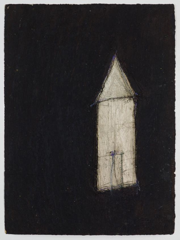 """Black House #2 Oil stick and gouache on paper 11"""" x 15"""" 2012"""