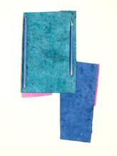 """Blue and Green Handmade paper, thread, and old book pages on paper 11"""" x 15"""" 2006"""
