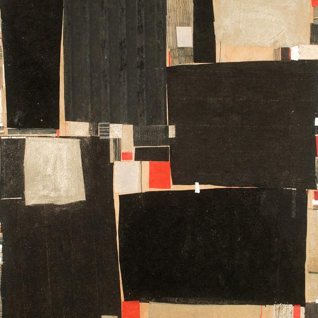 "Wazi Mixed media on wood panel 14"" x 18"" 2006"