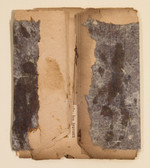 """Brown Study Old book pages, thread, pencil, and gouache on paper 11"""" x 15"""" 2002"""