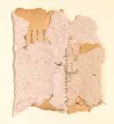 """Paper Series #22 Handmade paper, thread, and old book pages on paper 11"""" x 15"""" 2006"""