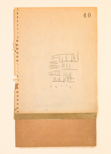"#617 Old book pages, thread, pencil, and gouache on paper 11"" x 15"" 2002"
