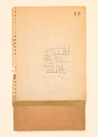 """#617 Old book pages, thread, pencil, and gouache on paper 11"""" x 15"""" 2002"""