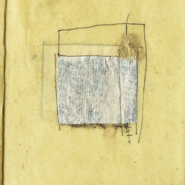 Pencil, marker, and thread on joss paper dipped in encaustic medium