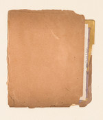"""#614 Old book pages, thread, pencil, and gouache on paper 11"""" x 15"""" 2002"""
