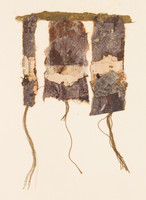 """#84 Old book pages, thread, pencil, and gouache on paper 11"""" x 15"""" 2002"""