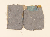 """Blue Map Handmade paper, thread, and old book pages on paper 11"""" x 15"""" 2006"""