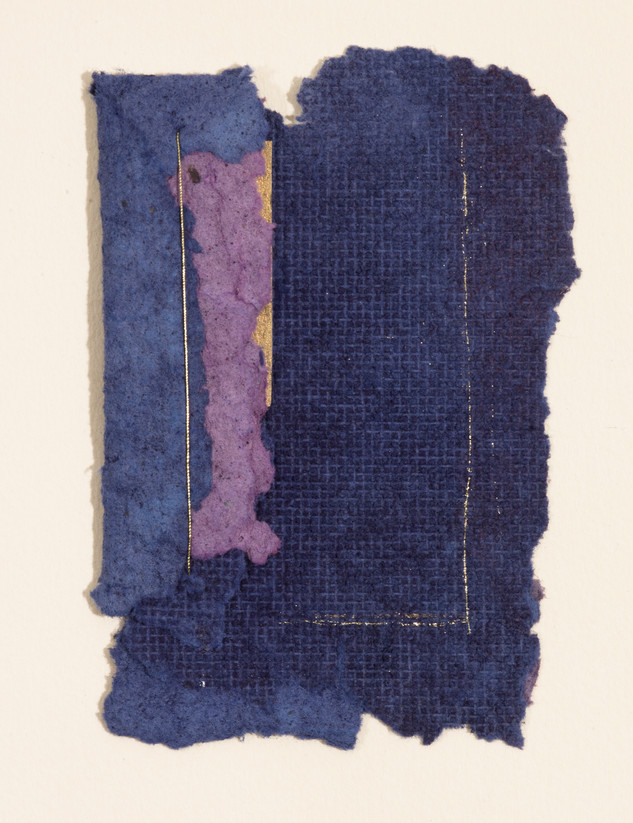 """Blue Piece Handmade paper, thread, and old book pages on paper 11"""" x 15"""" 2006"""