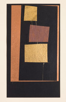 """Jazz Series #891 Old book pages, thread, pencil, and gouache on paper 11"""" x 15"""" 2002"""
