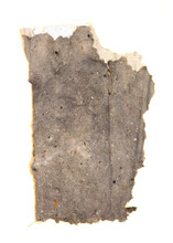 """Gray Packet Handmade paper, thread, and old book pages on paper 11"""" x 15"""" 2006"""