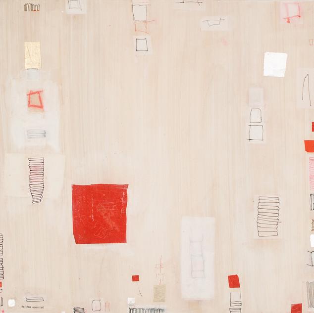 "Strain Mixed media on wood panel 15"" x 15"" 2006"