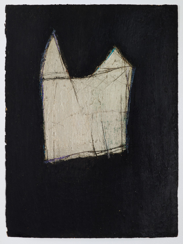 """Black House #1 Oil stick and gouache on paper 11"""" x 15"""" 2012"""