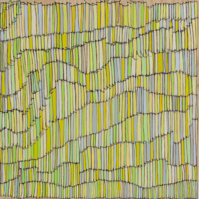 "Shower Neocolor on wood 9"" x 9"" 2009"