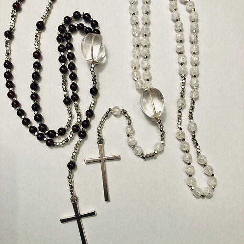 Garnet and Cracked Crystal Rosary