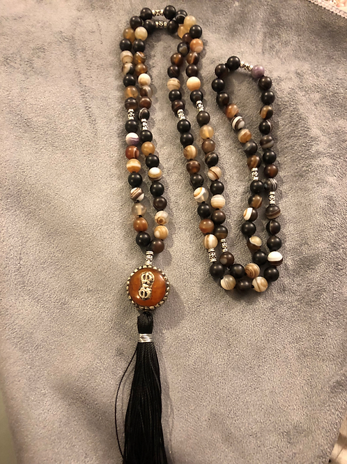 Striped Agate with Amber Buddha Bead
