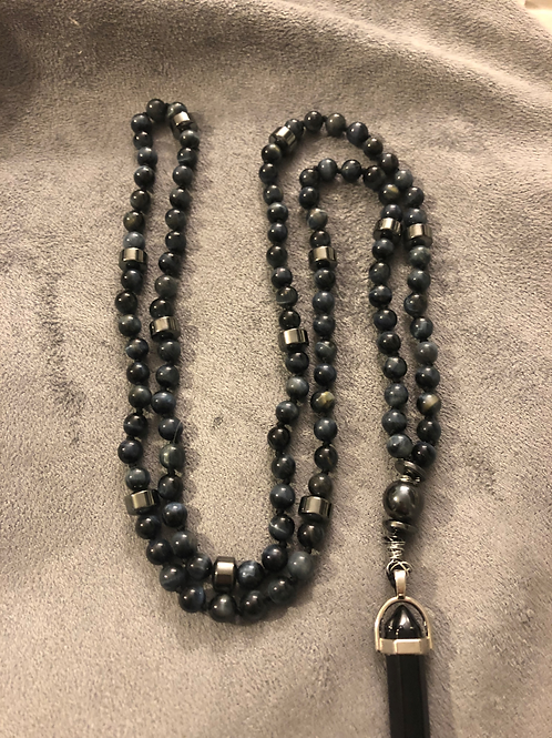 Blue Tiger Eye, Hematite acents and Onyx charm