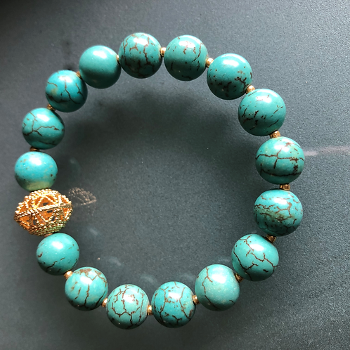 10mm Turquoise bracelet with gold plated sterling accent