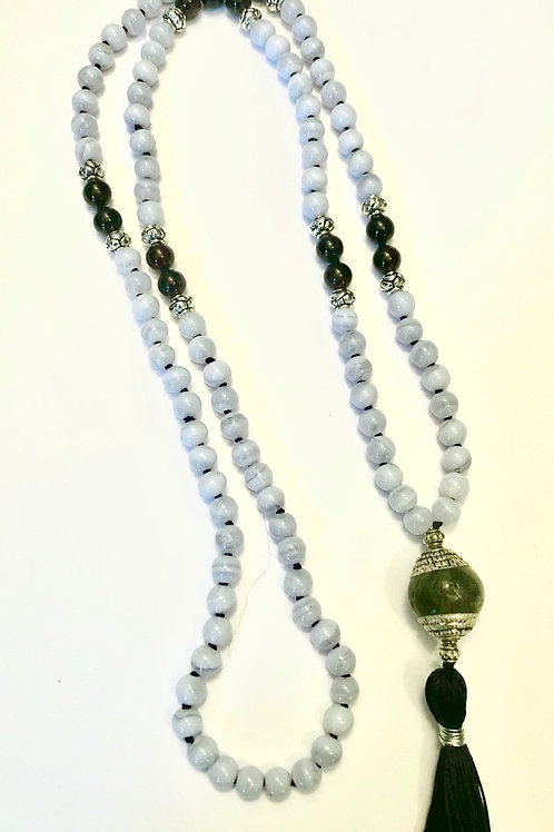 Blue Lace Agate and Garnet with Lapis Guru Bead
