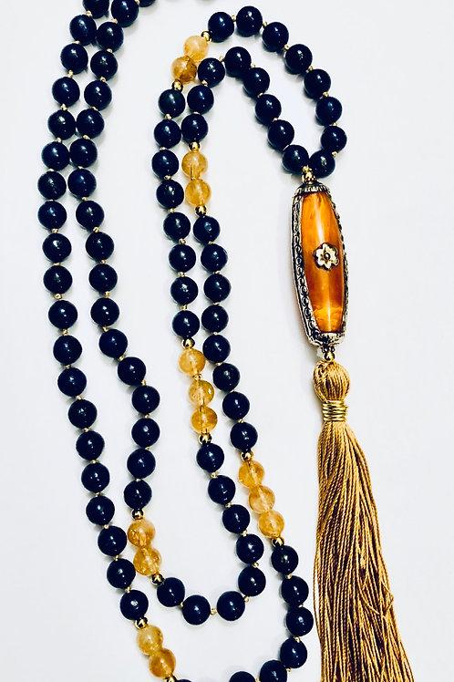 Lapis Lazuli with Rutilated Quartz and Amber Guru Bead