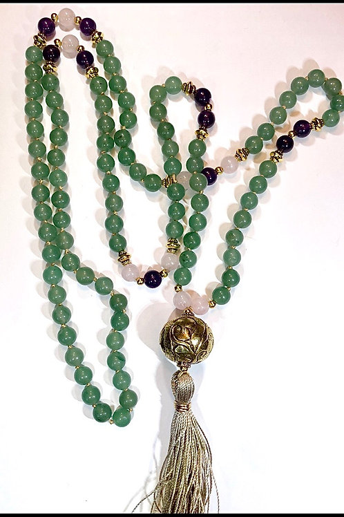 Green Aventurine, Rose Quartz and Amethyst with Brass Guru bead