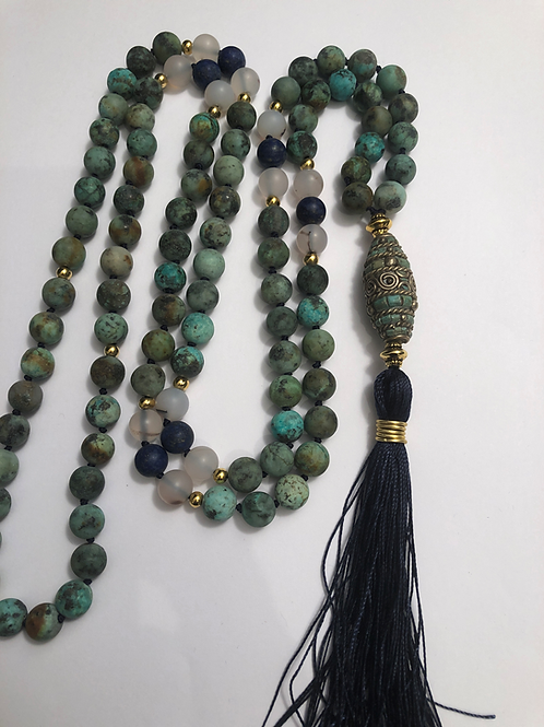 African Turquoise with Lapis and Dendrite