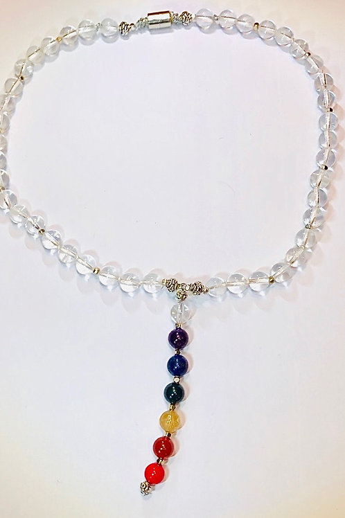 Chakra necklace: Clear Crystal Quartz. 18 inch 8mm stones.