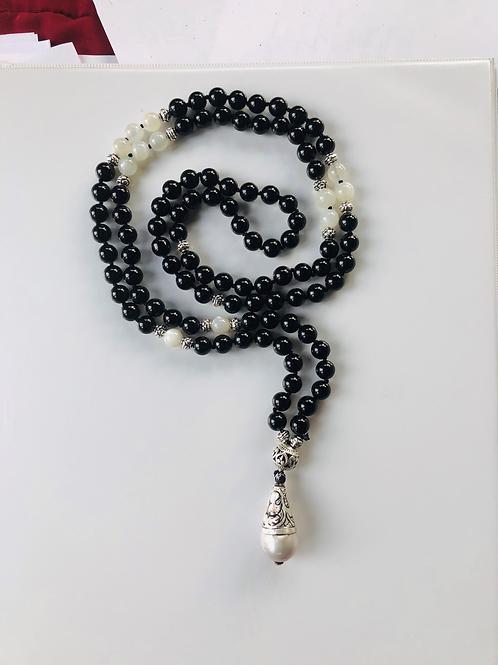 Onyx and Rainbow Moonstone