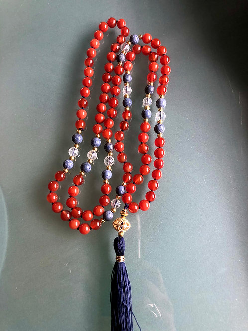 Carnelian, Blue Coral and Crystal Quartz and gold plated sterling Guru bead