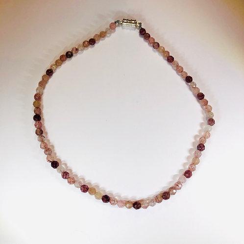 Strawberry Quartz choker necklace.  4mm stones