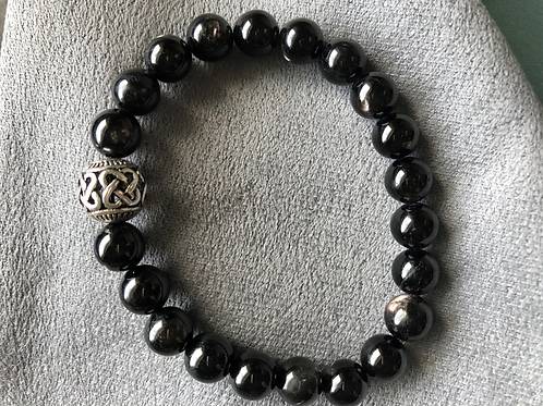 8mm Hypersthene bracelet with sterling accent