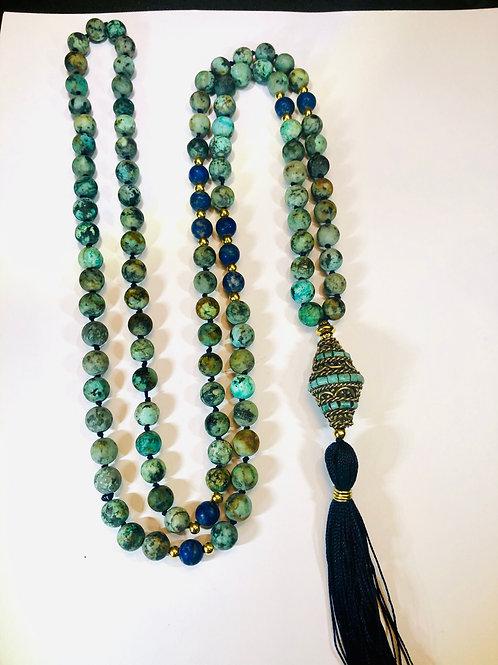 African Turquoise with Lapis Lazuli and Turquoise Guru bead
