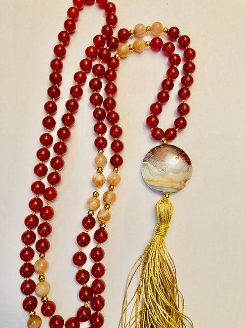 Carnelian with Peach Moonstone