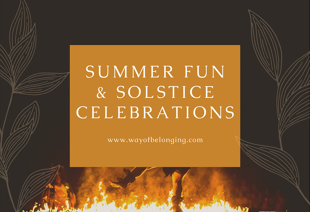 """Person at night dancing in front of a fire, foreground has font that reads """"Summer Fun & Solstice Celebrations"""""""
