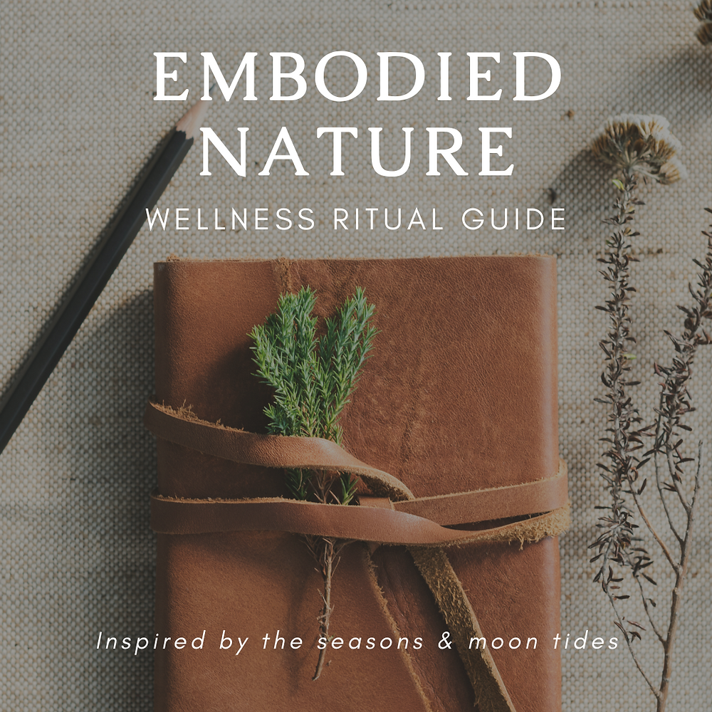 A leather bound notebook with a sprig of green leave with text overlaying the image that reads: Embodied Nature Wellness Ritual Guide
