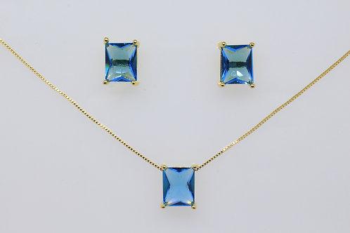 Conjunto Retangular Azul Cristal