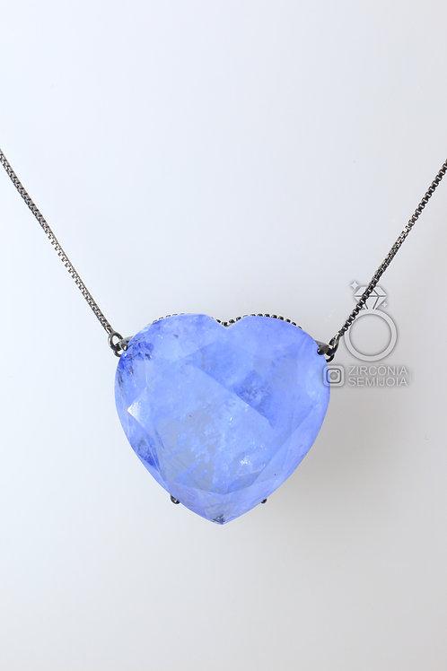 Colar Ródio Negro Coração Zircônia Azul Fusion