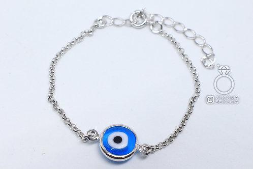 Pulseira Ródio 1 Olho Grego Azul