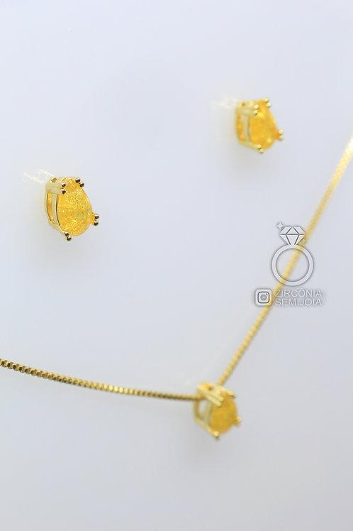 Conjunto Ouro Gota Delicada Amarelo