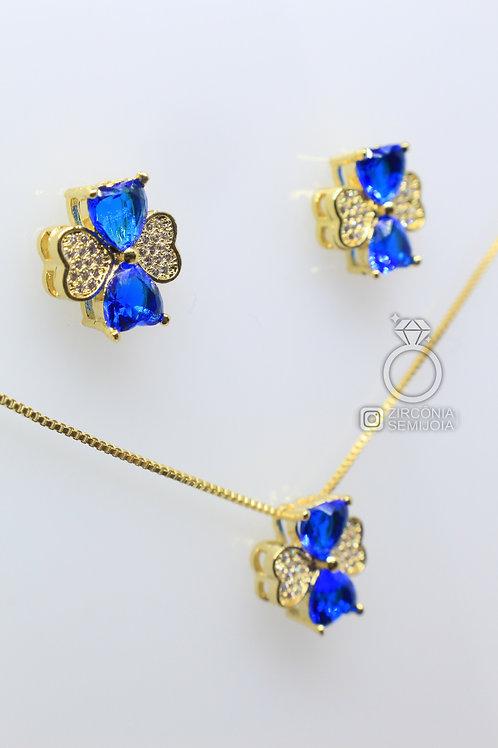Conjunto Ouro Trevo da Sorte Azul